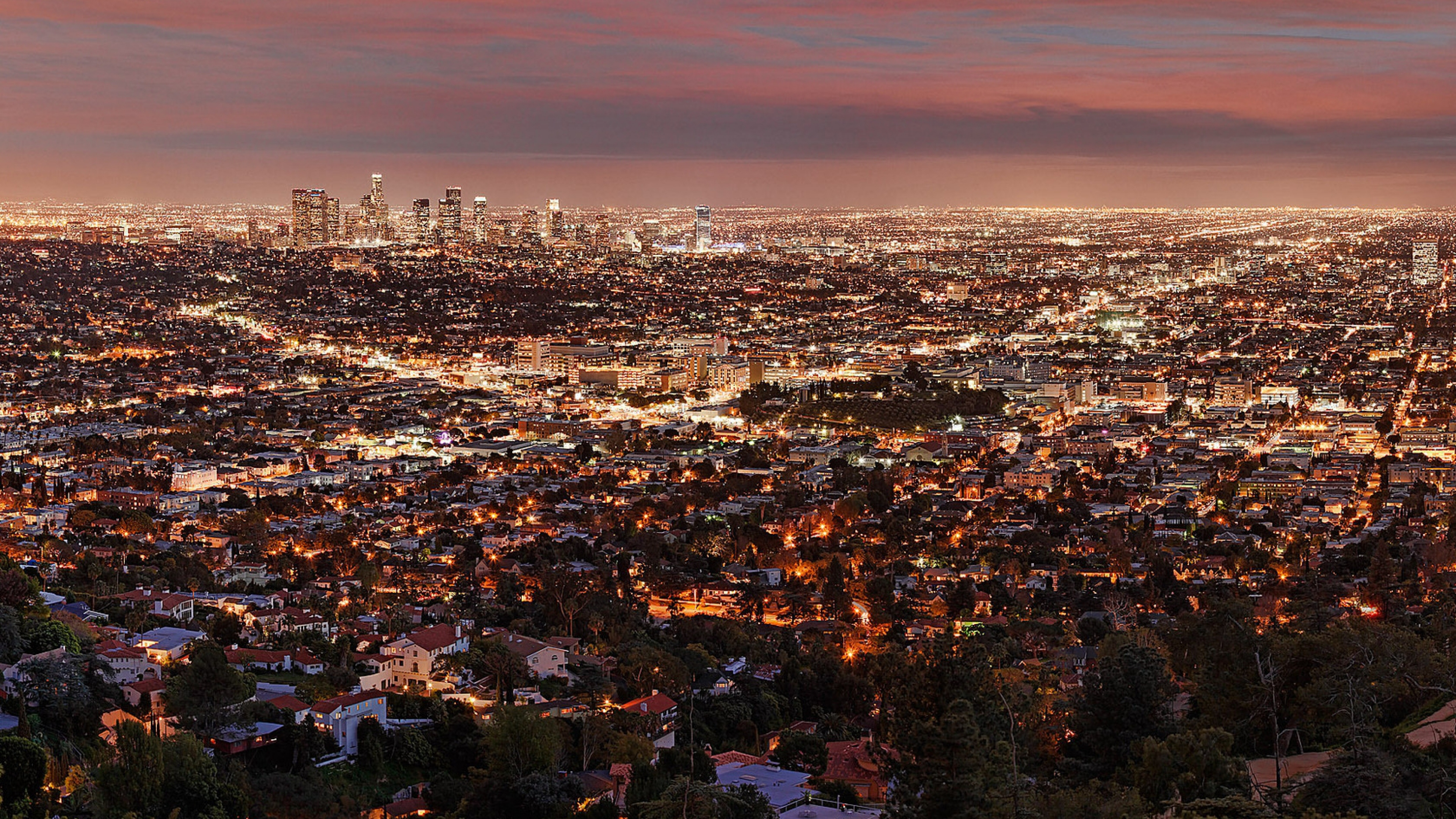 Wallpaper 3840x2160 los angeles night view from above city 4K 3840x2160