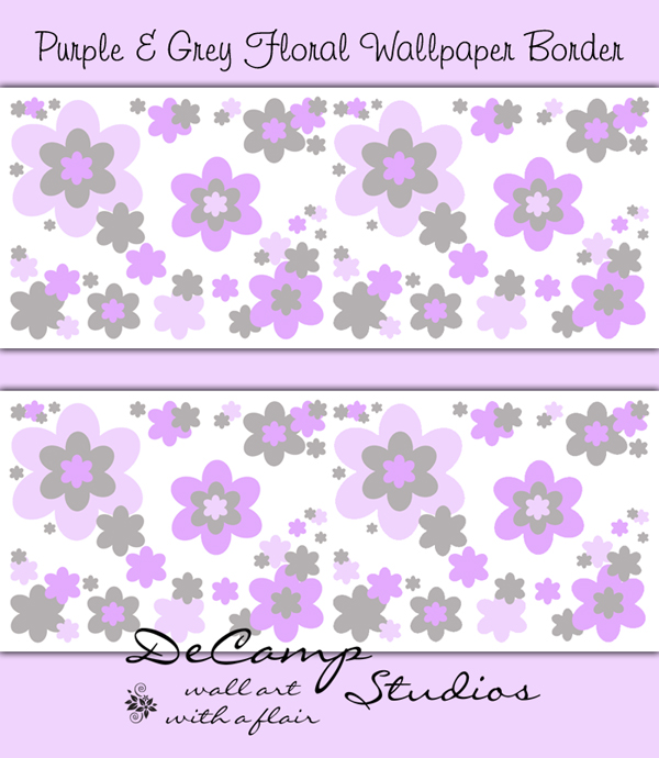 Purple Grey Floral Wallpaper Border Wall Decals Girls Flower [478] 600x690
