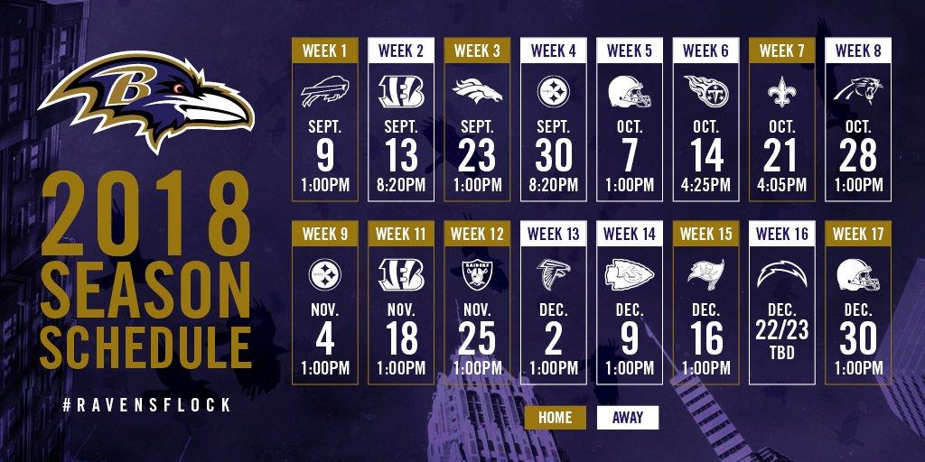 OFFICIAL Ravens 2018 2019 season schedule ravens 1024x512