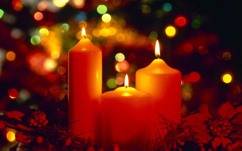 Beautiful Christmas Candles computer desktop wallpaper 1440x900