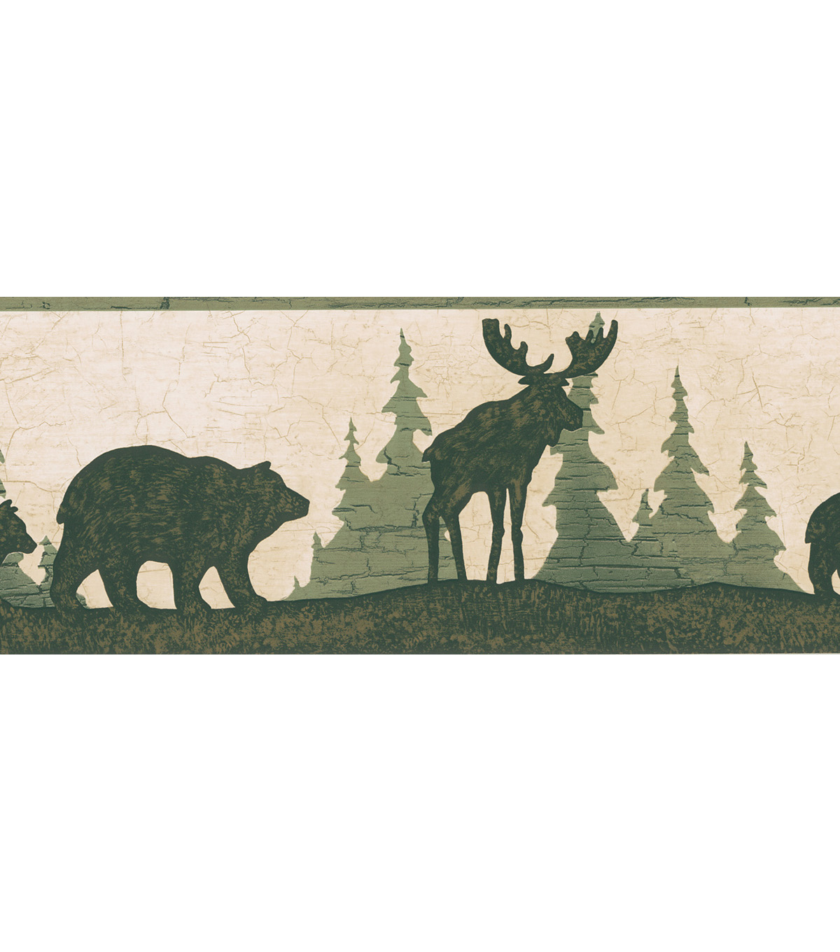 Woods Green Bear And Moose Silhouette Wallpaper Border Sample Jo Ann 1200x1360