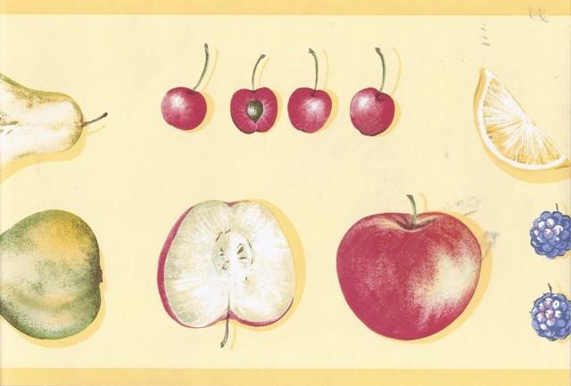 Yellow Strawberry Apples Wallpaper Border   Kitchen Bathroom 640x433