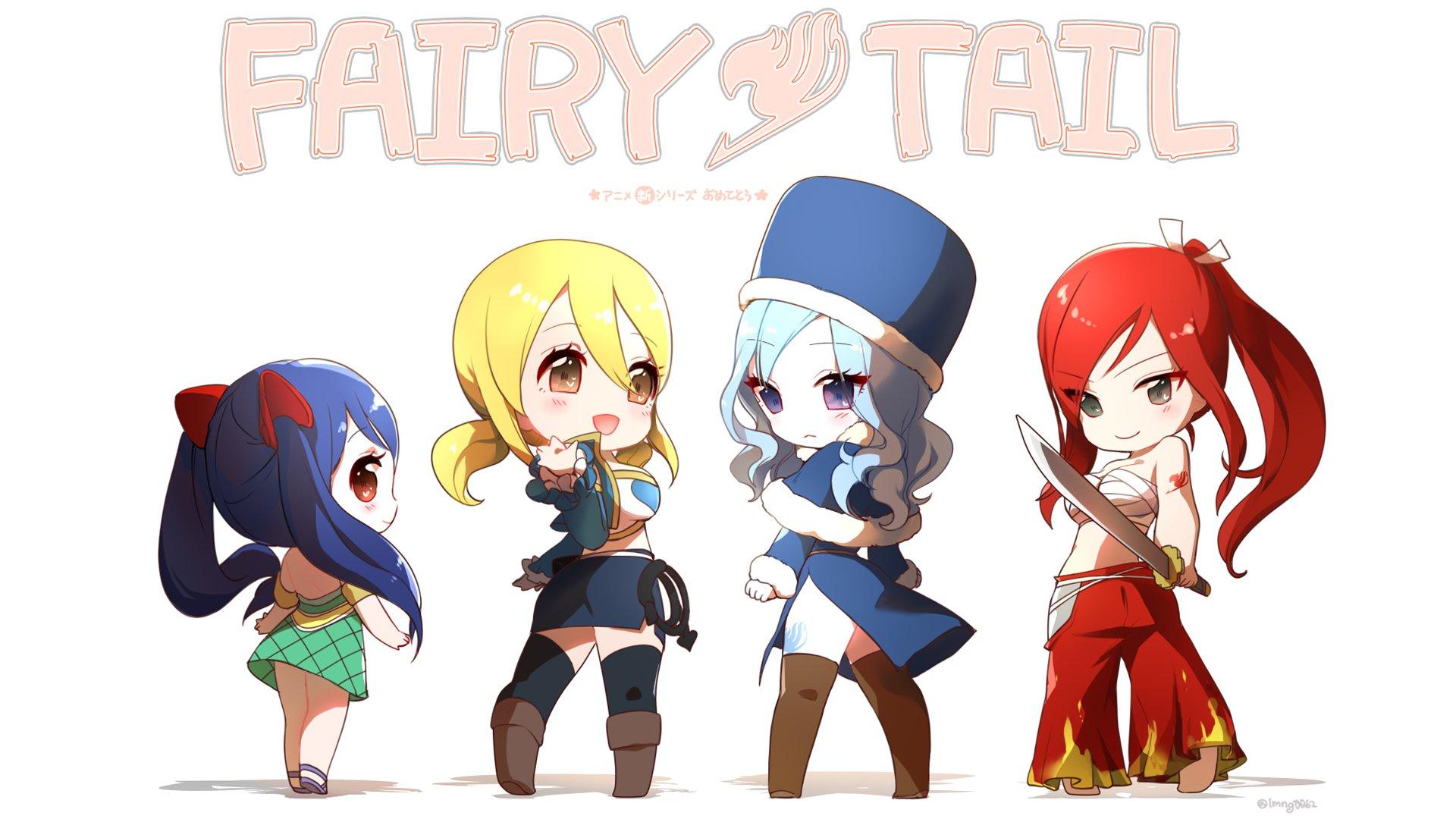 chibi anime girls fairy tail wendy marvell lucy heartfilia juvia 1920x1080