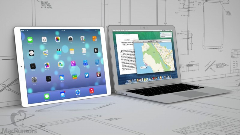 Mockup of 129 inch iPad Pro next to 13 inch MacBook Air 800x450