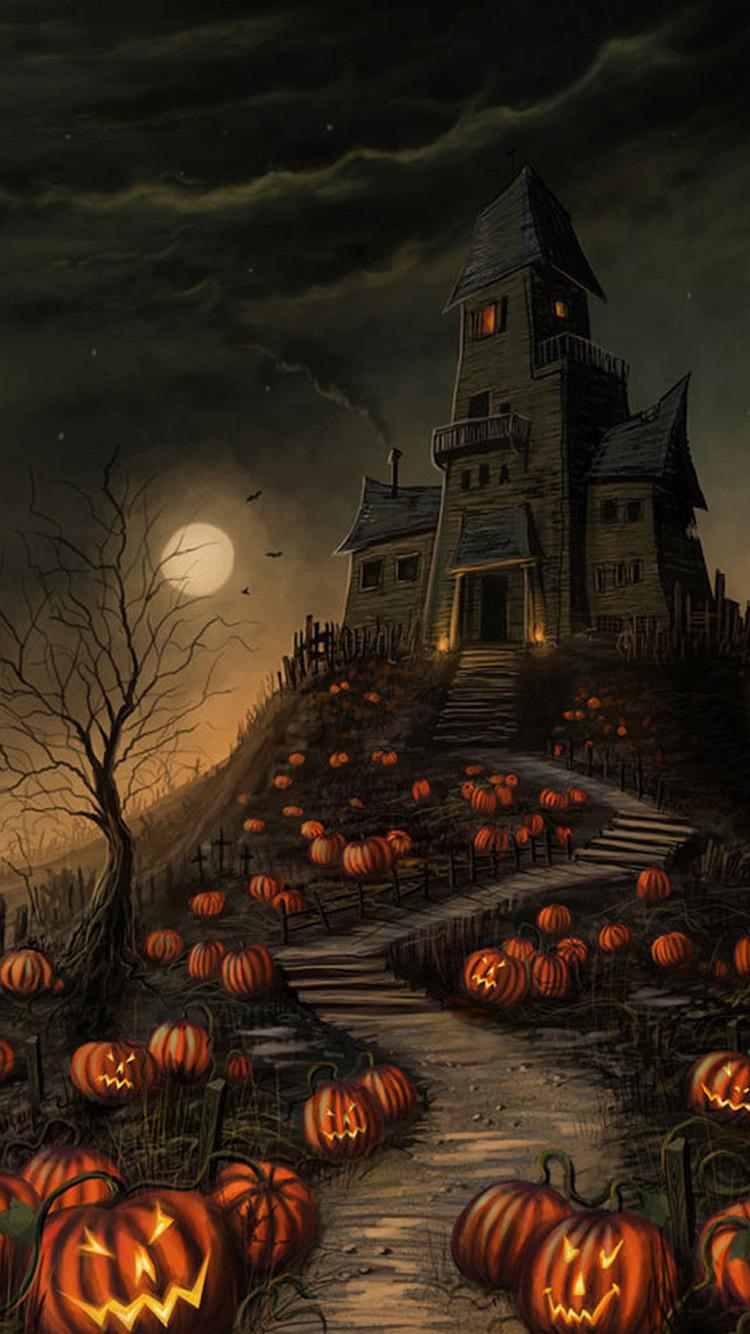 Halloween Wallpaper For Iphone Halloween haunted house 750x1334