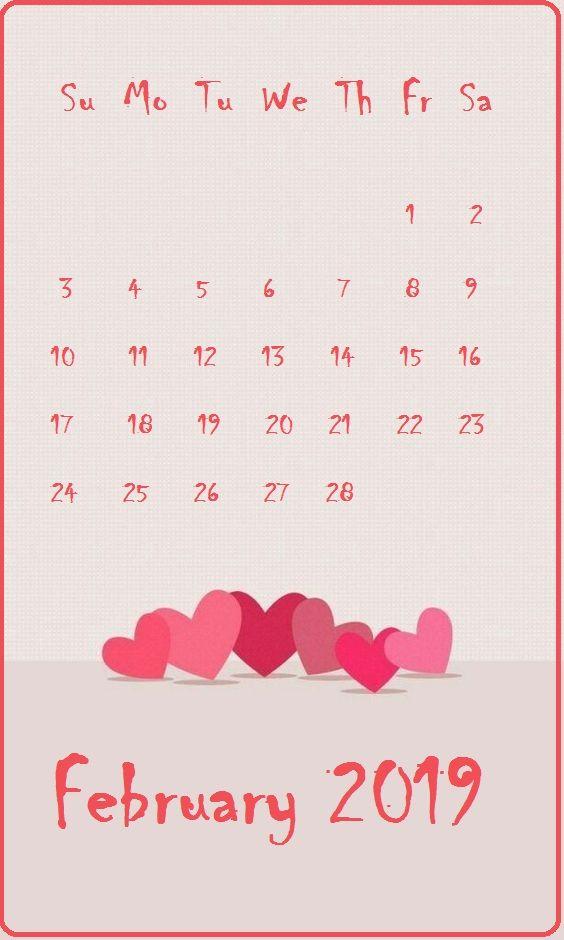 Beautiful Background February 2019 iPhone Calendar in 2020 564x940