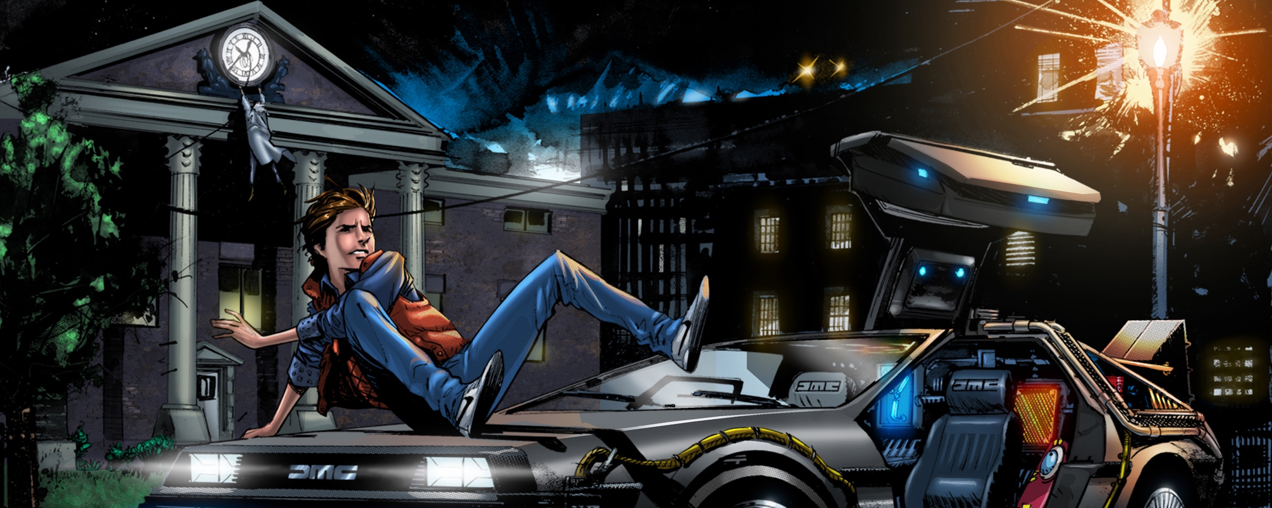 Download wallpaper 2560x1024 back to the future marty mcfly art 2560x1024