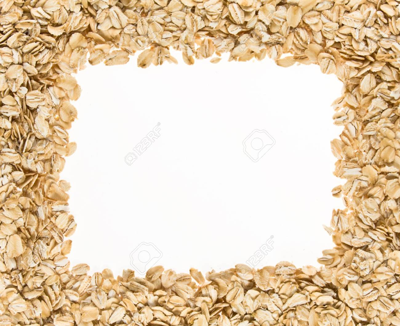 Frame Of Oatmeal Isolated On White Background Stock Photo Picture 1300x1061