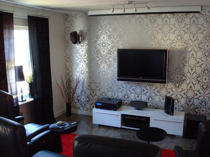 Modern living room with carving wallpaper and tv setup design ideas 800x600