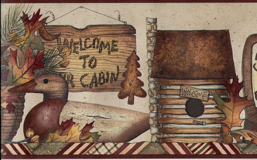 to The Cabin Lantern Log Cabin Fall Leaves Wallpaper Border eBay 1000x623