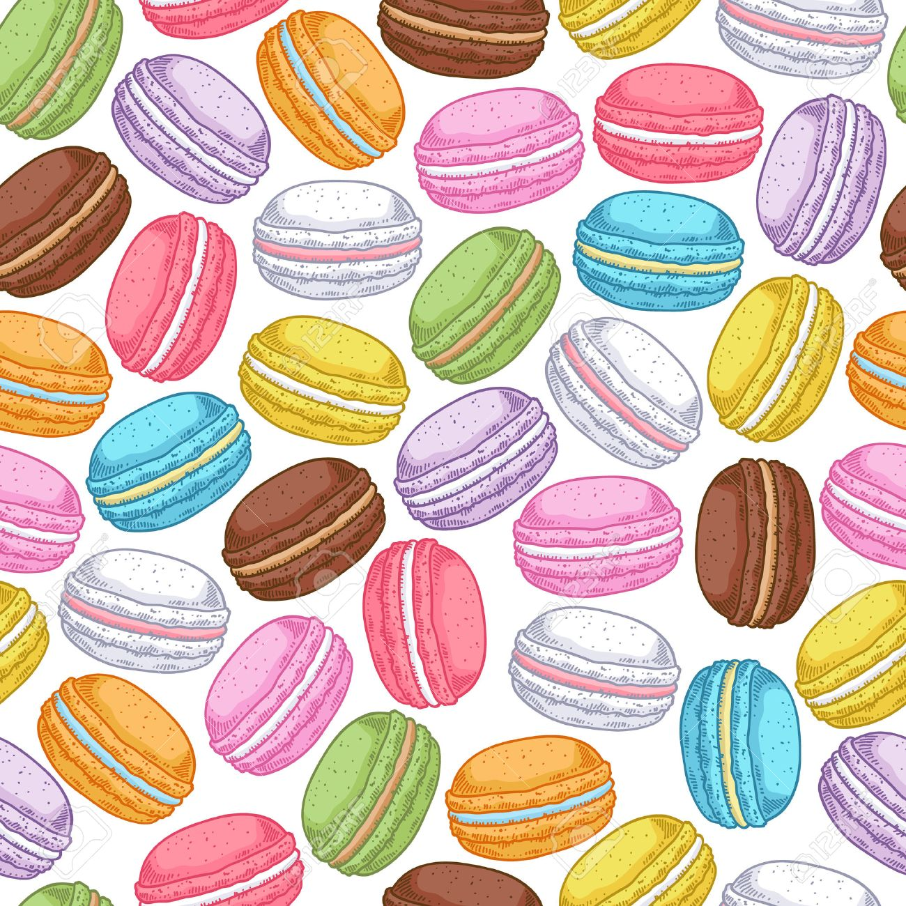 Seamless Assorted Macarons Pattern Macaroon Background   White 1300x1300