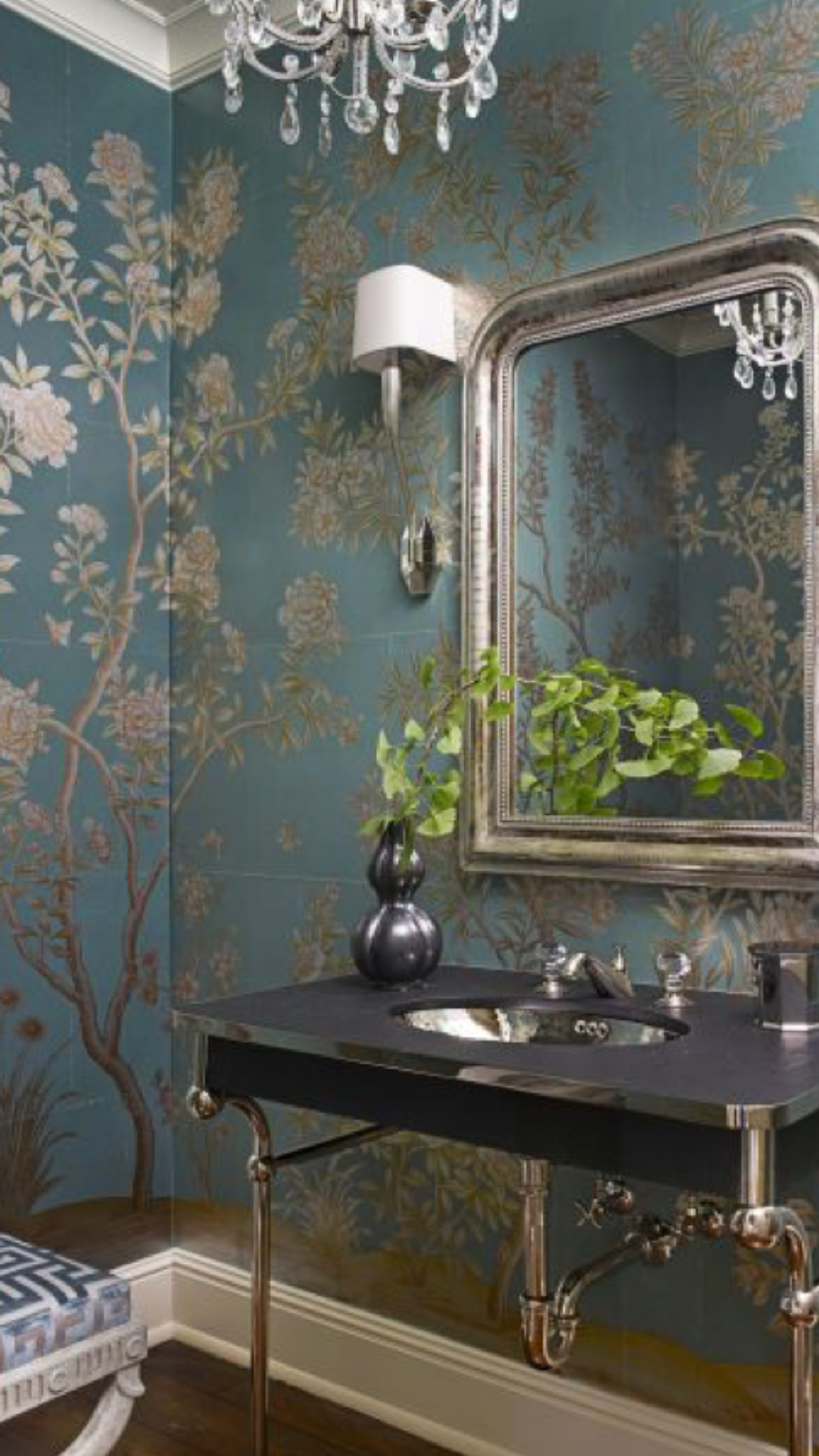 Gracie Wallpaper Bathrooms and more in 2019 Powder room 750x1334