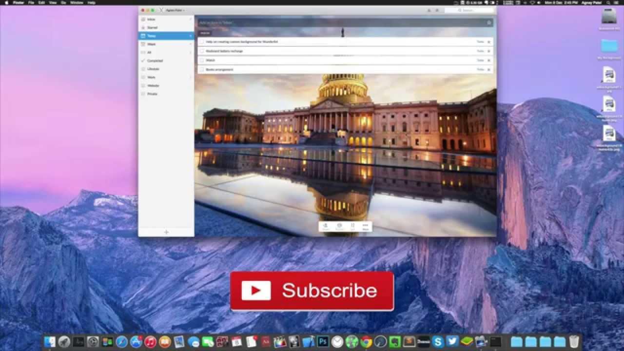 Set Wunderlist custom background in Mac 1280x720