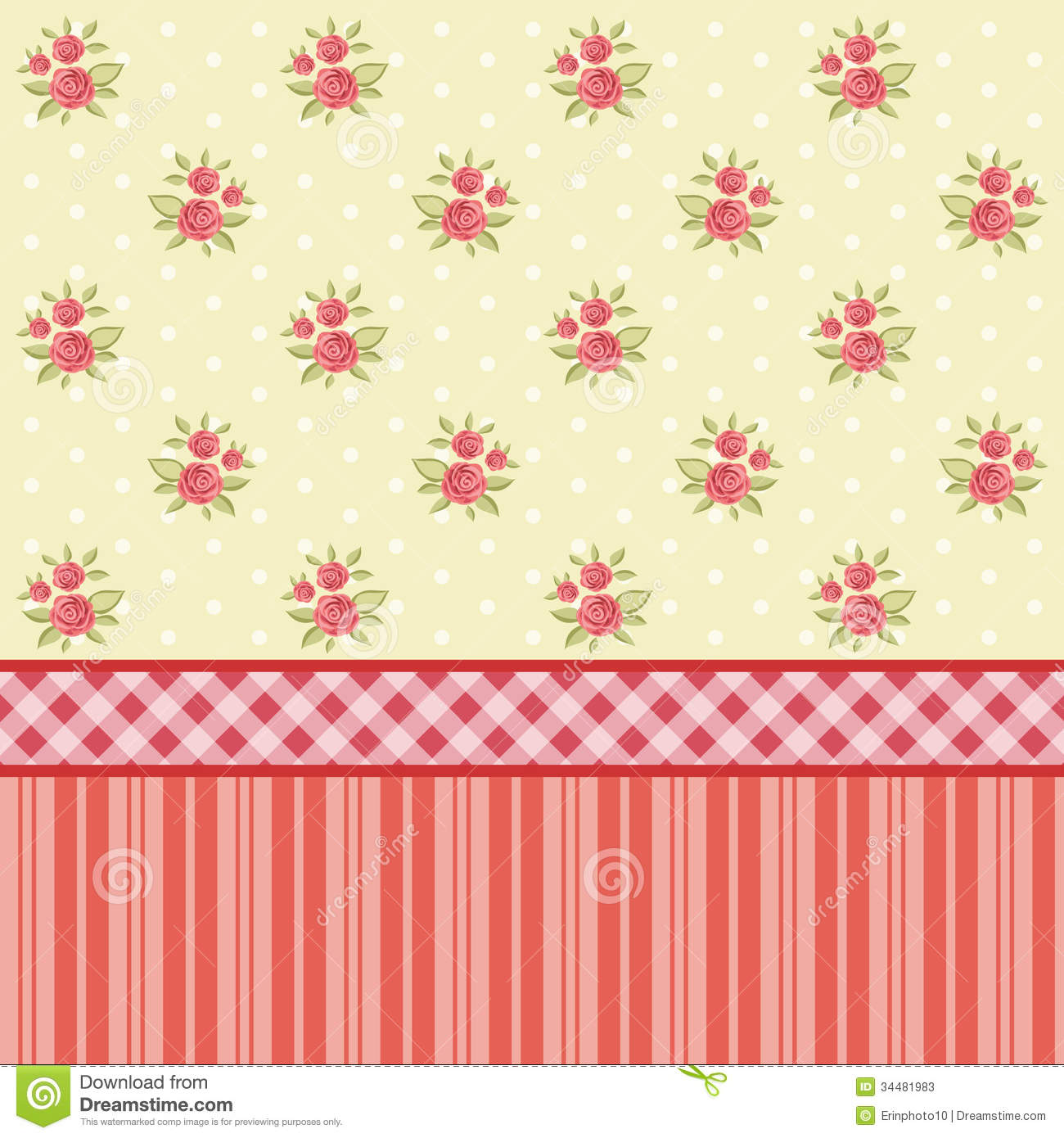 Shabby Chic Flowers Wallpaper Kitchen 1300x1390