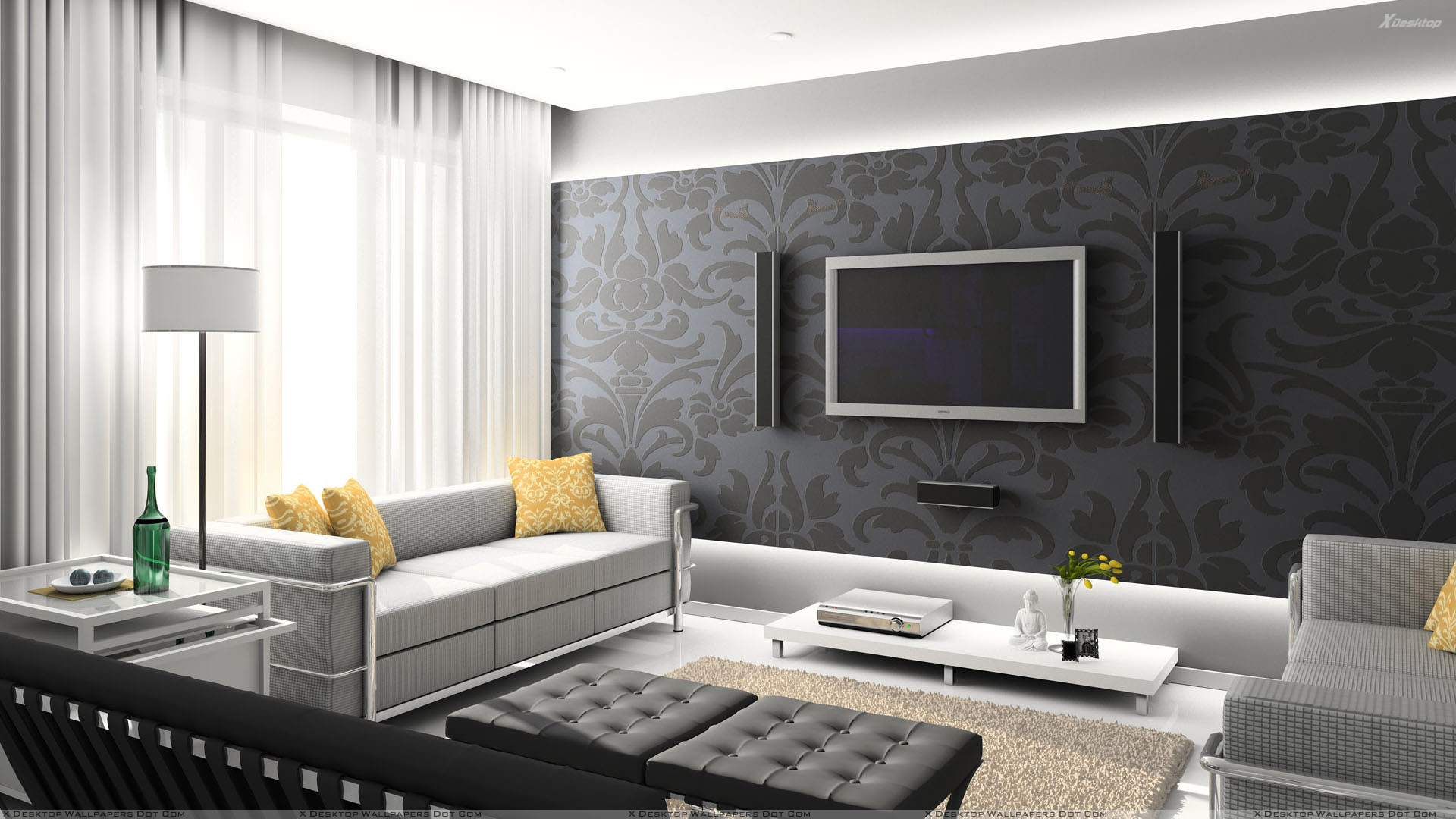 Black Digital Interior And Home Theater Room Wallpaper 1920x1080