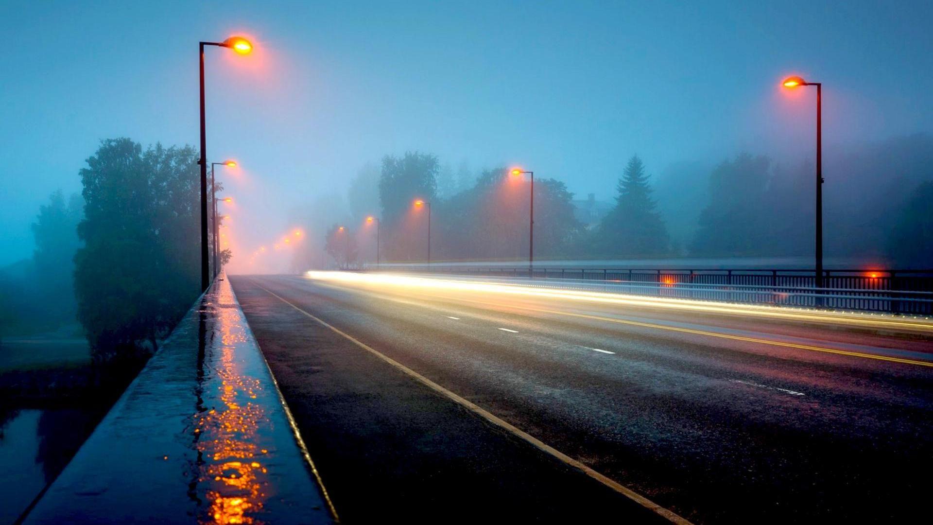 A Highway Bridge In A Foggy Rainy Night HD Desktop Background 1920x1080