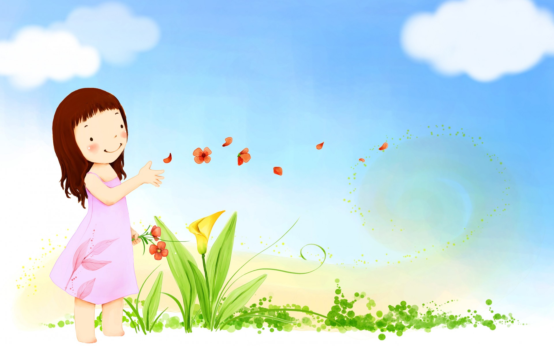 summer happy cute vector girl butterfly flowers sky clouds wallpaper 1920x1200