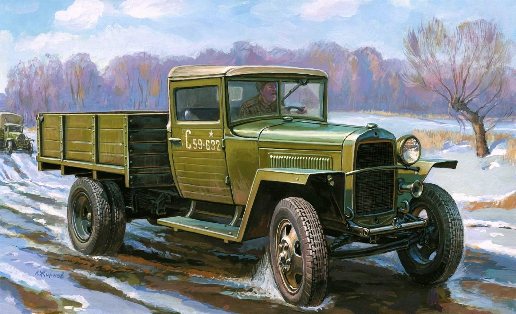 Wallpaper GAZ MM Painting Art Army 1679x1022