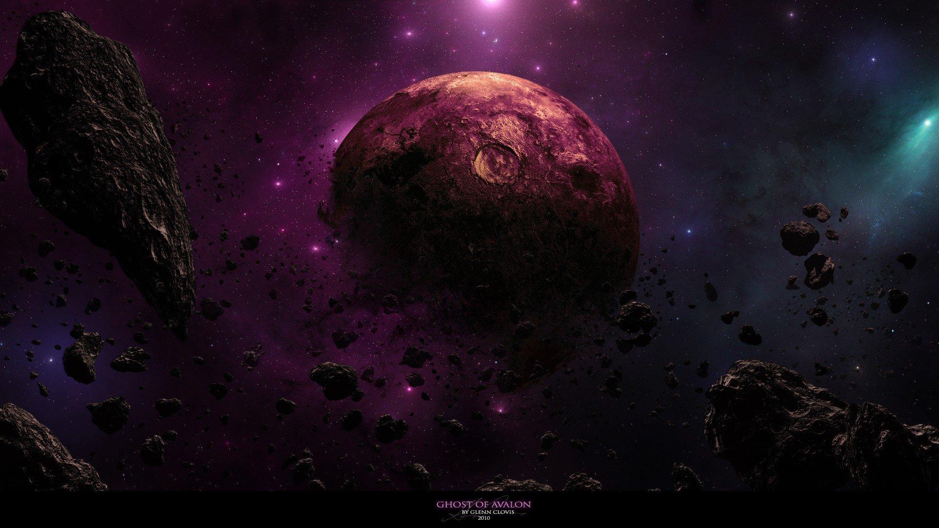 planets rocks nebulae DeviantART dust asteroids cosmic dust wallpaper 1920x1080