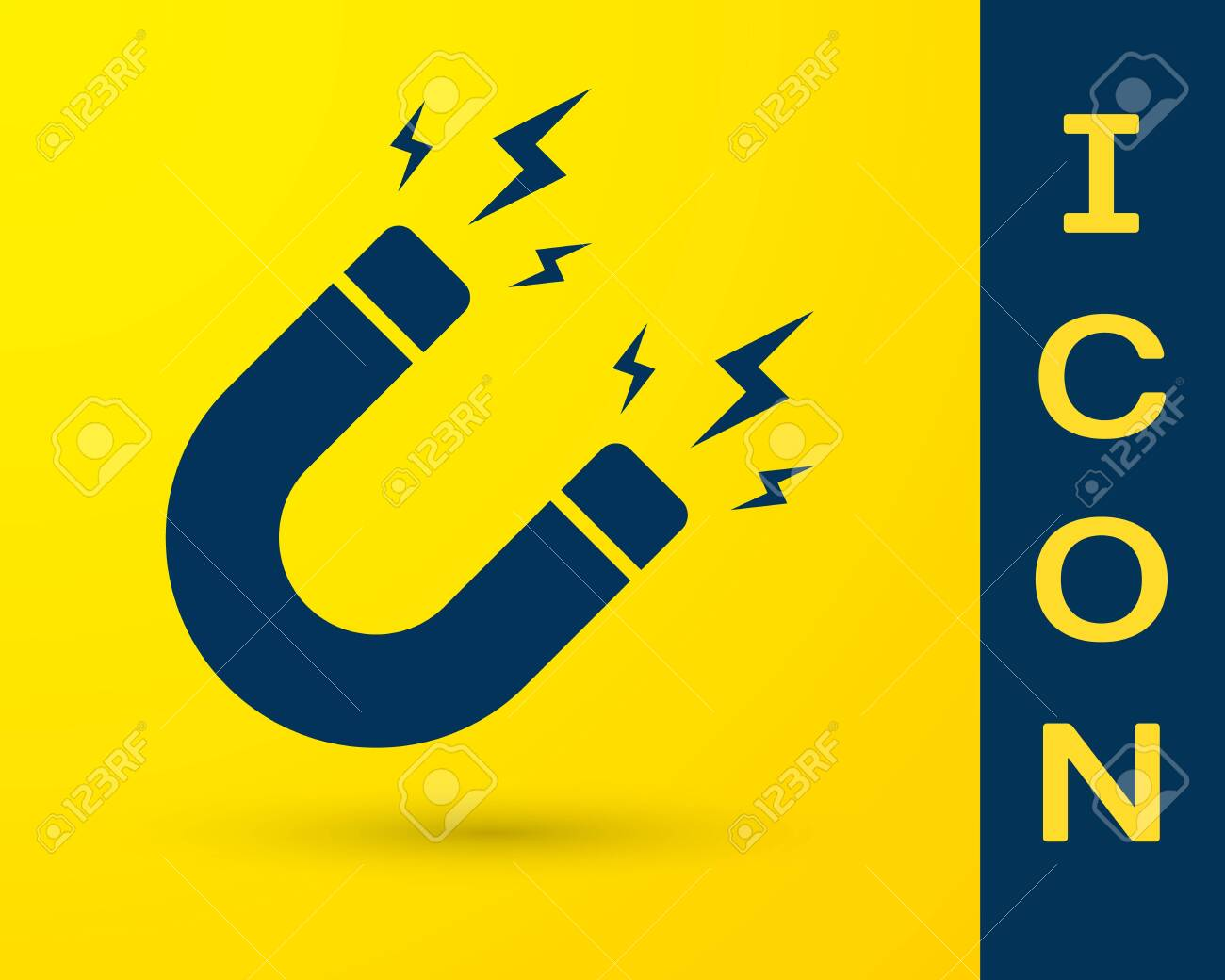 Blue Magnet With Lightning Icon Isolated On Yellow Background 1300x1040