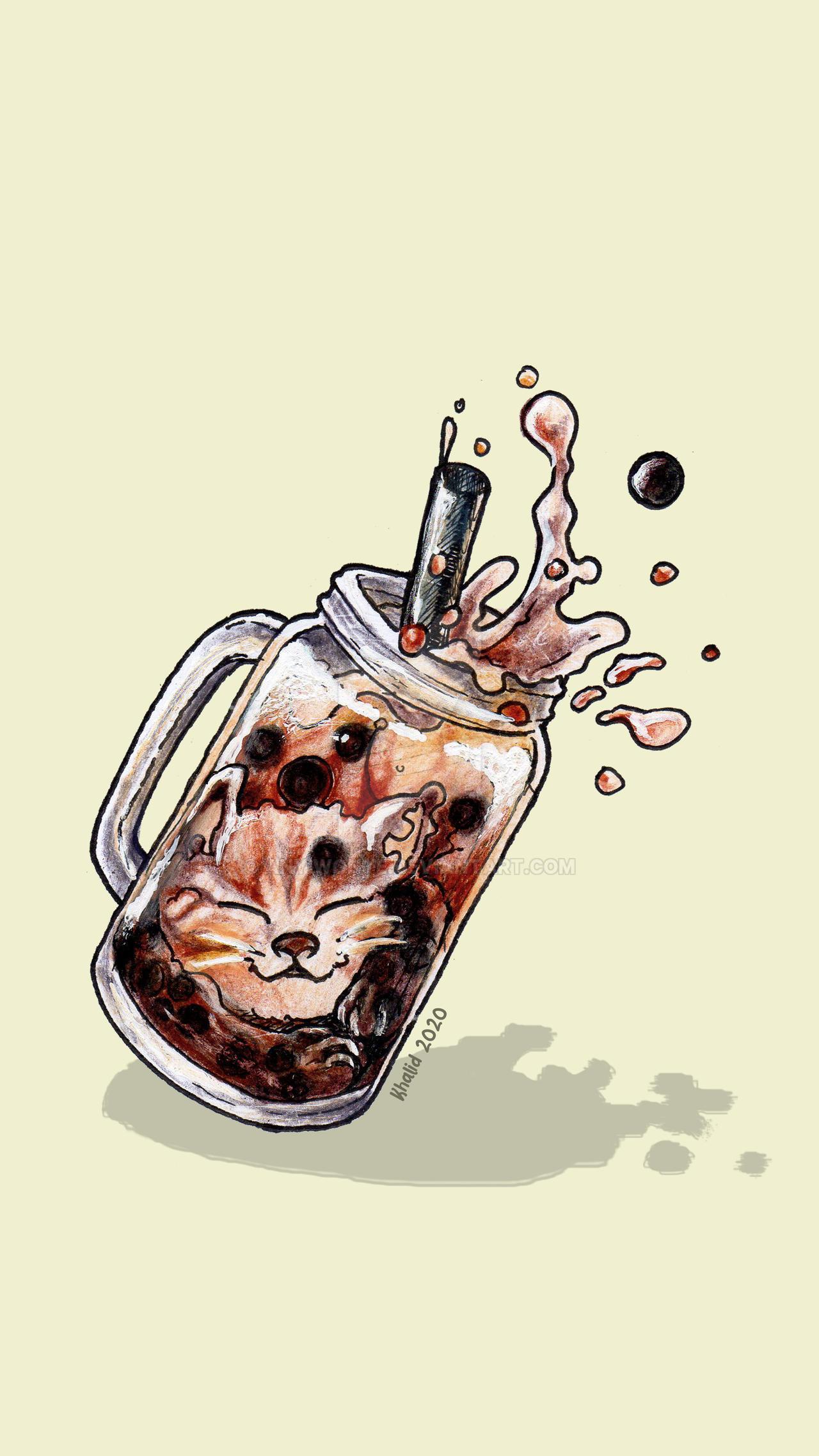 Boba Cat Wallpaper by anyiwonye 1280x2276
