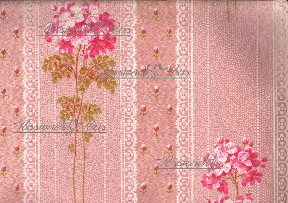 Antique French hand painted wall paper enchanting flowers 1800s digit 570x403