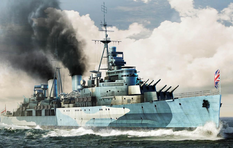 Wallpaper ship art Navy military cruiser British cruiser 1332x850