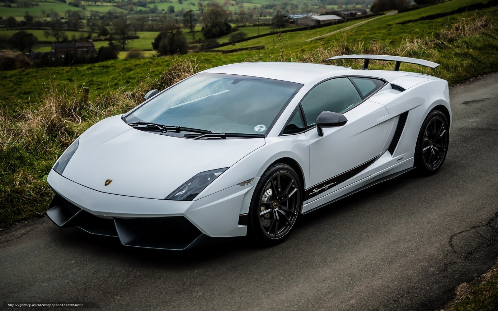 download wallpaper lamborghini gallardo superleggera white top view