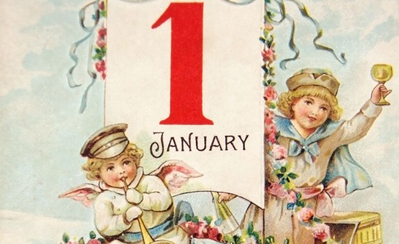 lovely Victorian era Happy New Year vintage postcard to print 572x350