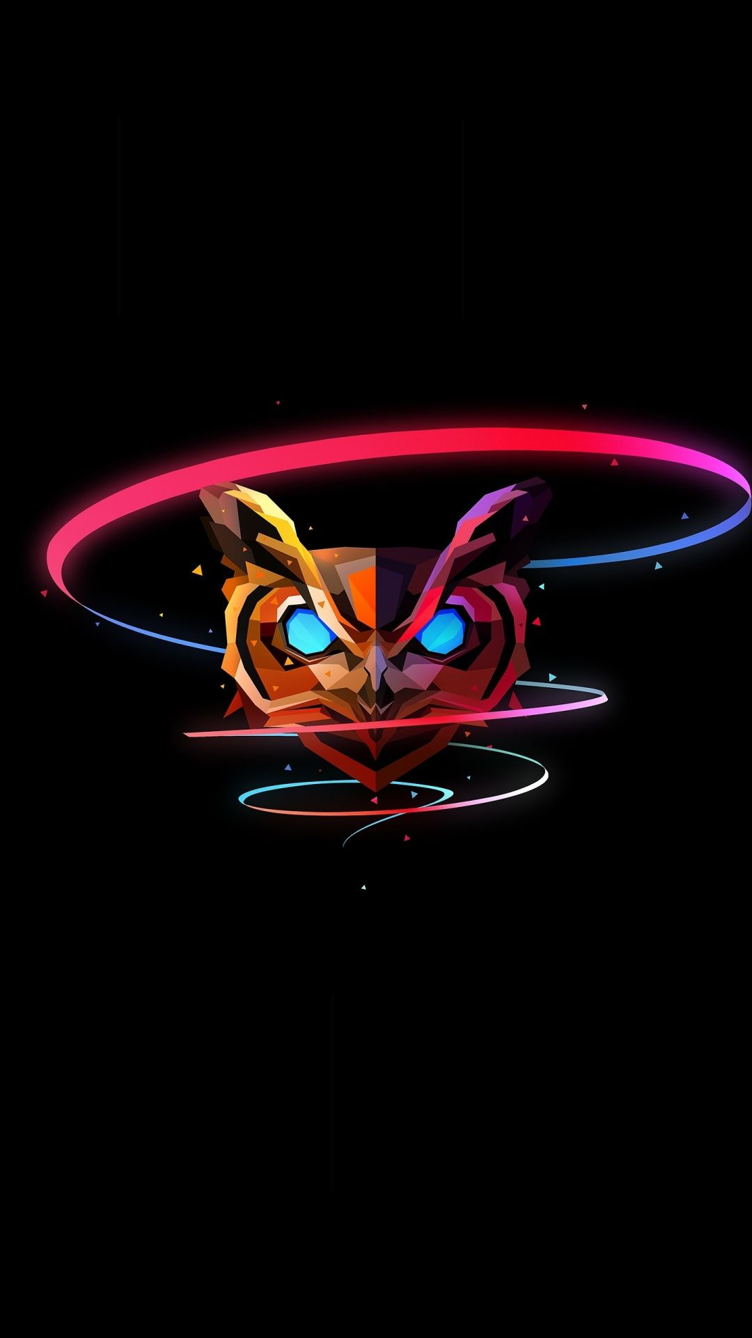 Owl colorful muzzle abstract art 1080x1920 wallpaper in 2020 1080x1920