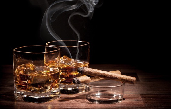 Wallpaper glass of whiskey ice cigar a glass of whiskey ice cigar 596x380