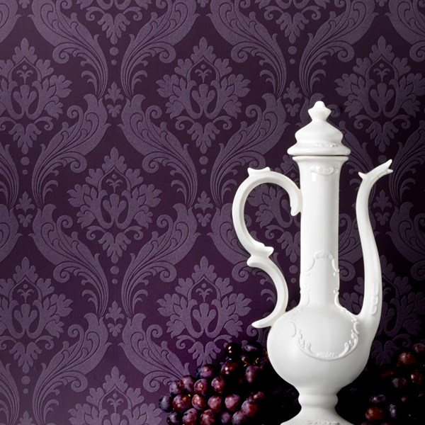 Purple Flocked Wallpaper Wallpapersafari