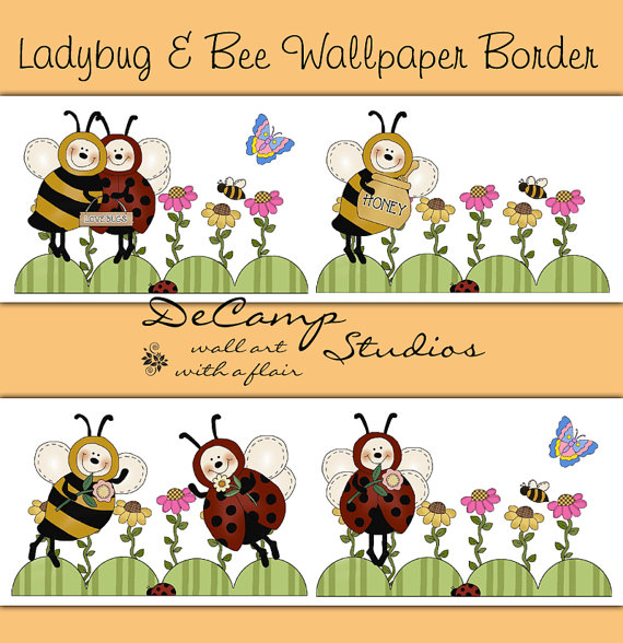 LADYBUG BUMBLE BEE Wallpaper Border Wall Decals Baby Girl Nursery Kids 570x588