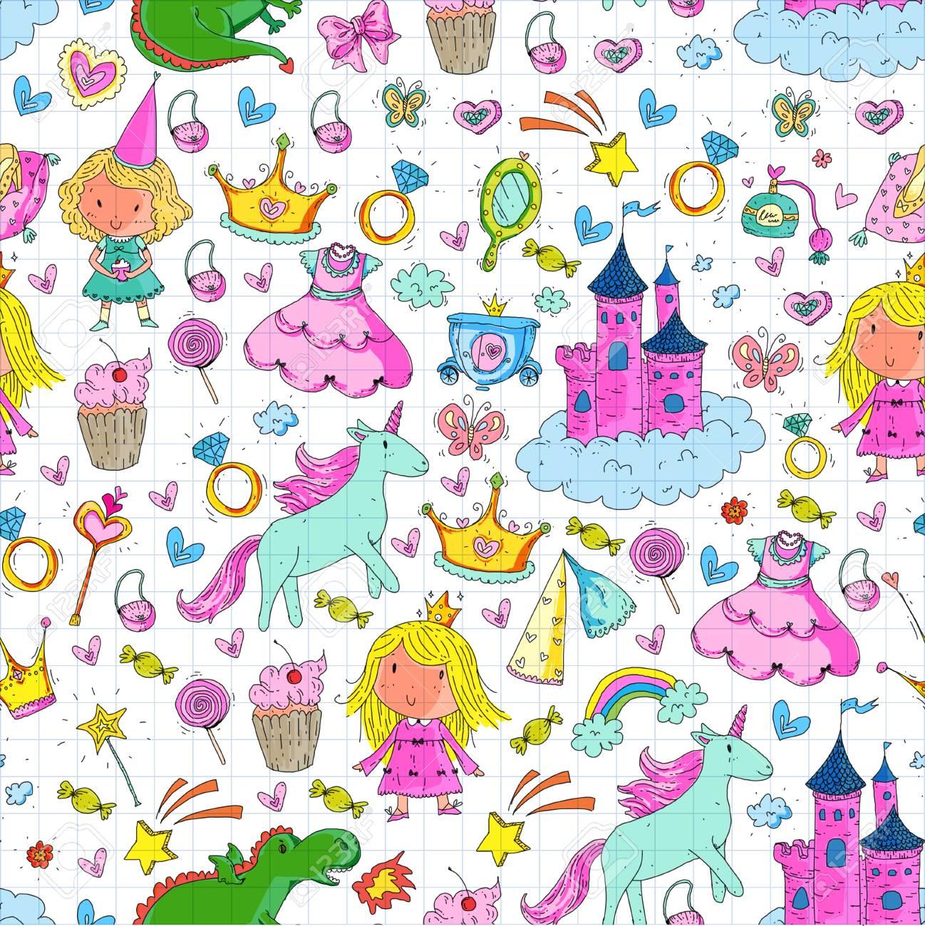 Cute Princess Icons Set With Unicorn Dragon Girl Wallpaper Baby 1298x1300