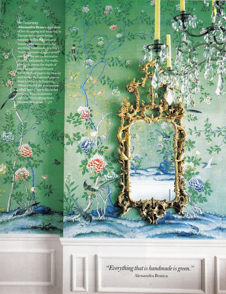 de Gournay wallpaper Chandelier and frame all exquisite The frame is 736x959