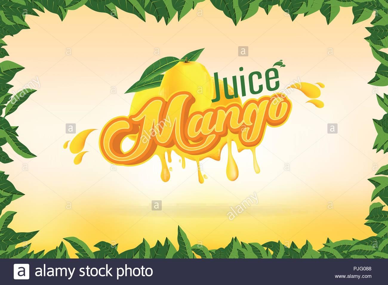 Mango Juice Brand Company Logo Design with background vector 1300x956