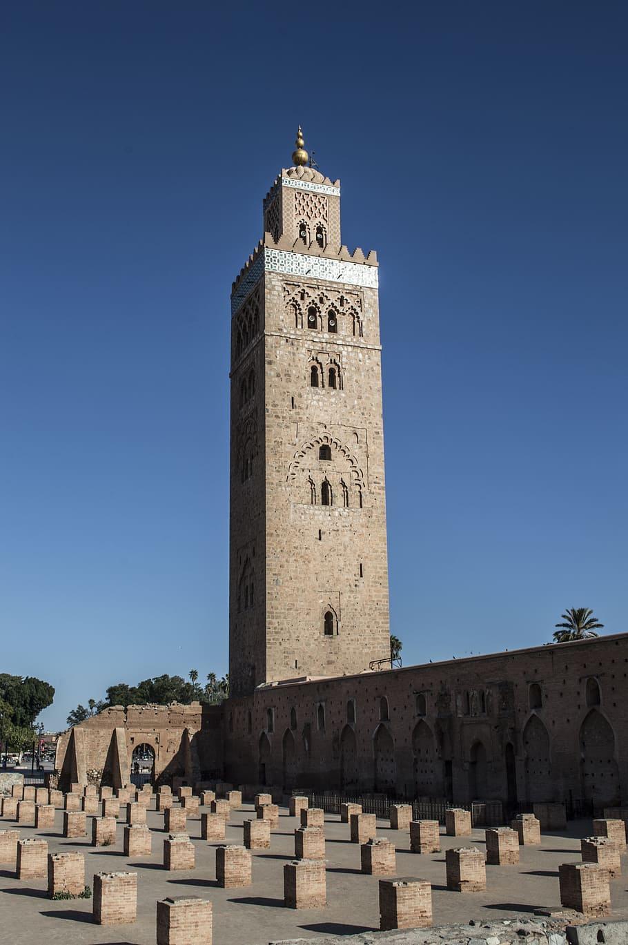 HD wallpaper brick tower mosque marrakesh morocco moroccan 910x1369