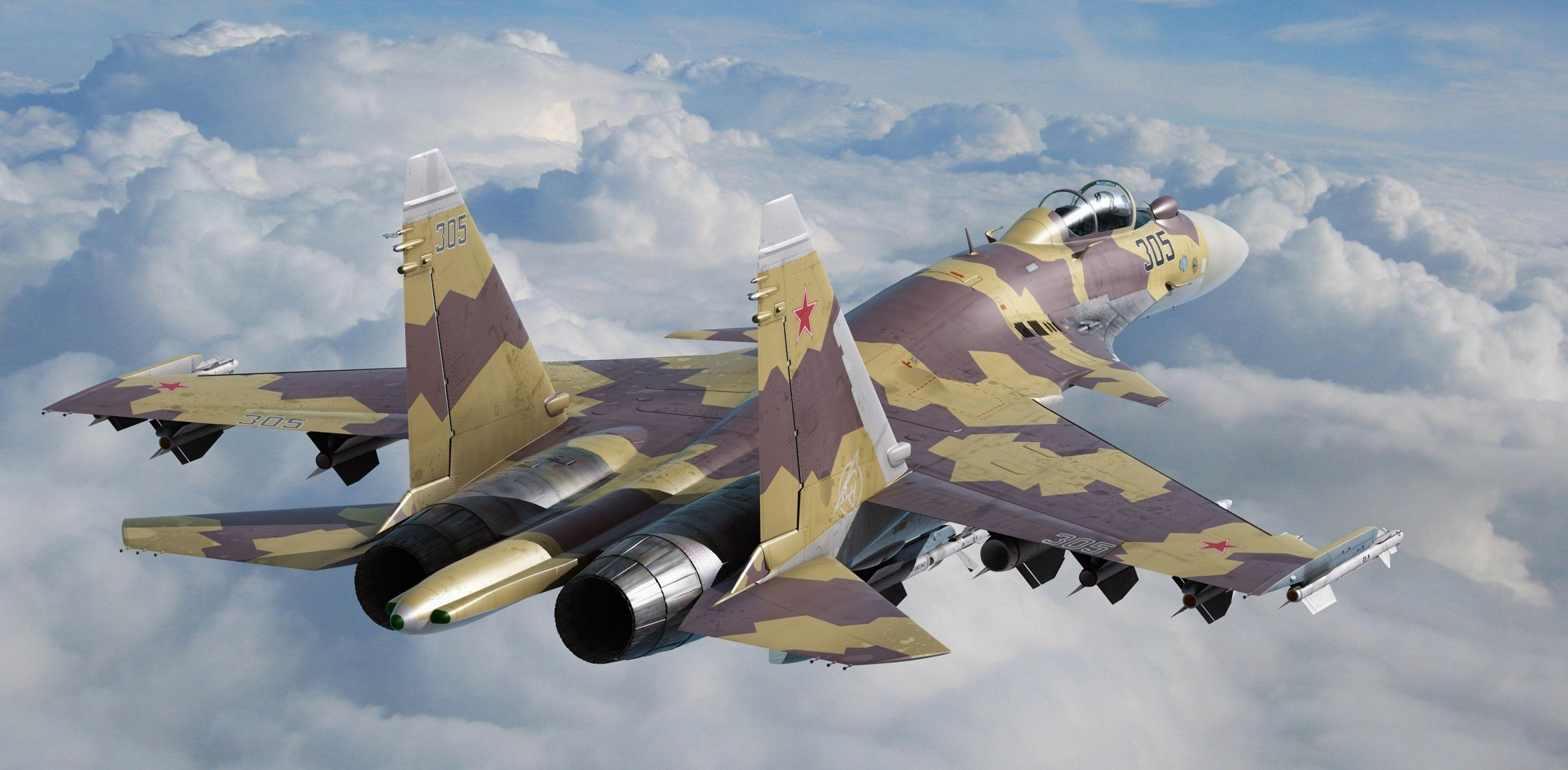 Su 35 fighter jets airplane military wallpaper background 2222x1091