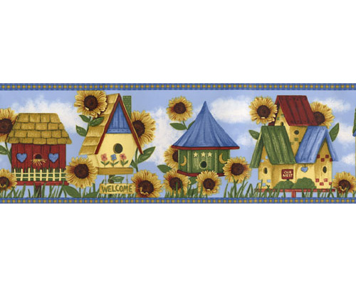 Birdhouse Pre pasted Wall Border   Wall Sticker Outlet 500x400