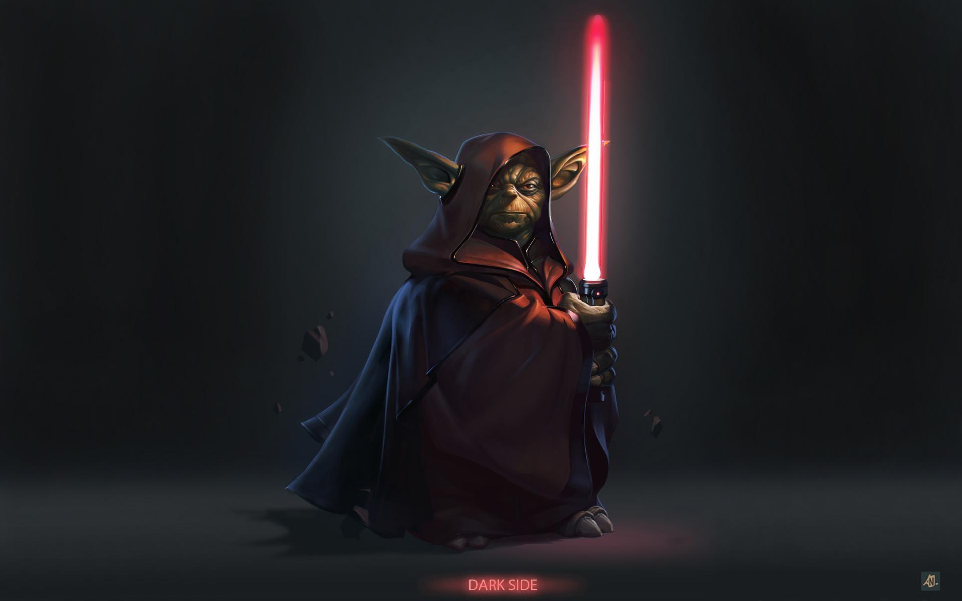 dark side Yoda Hollywood photomanipulation wallpaper background 1920x1200
