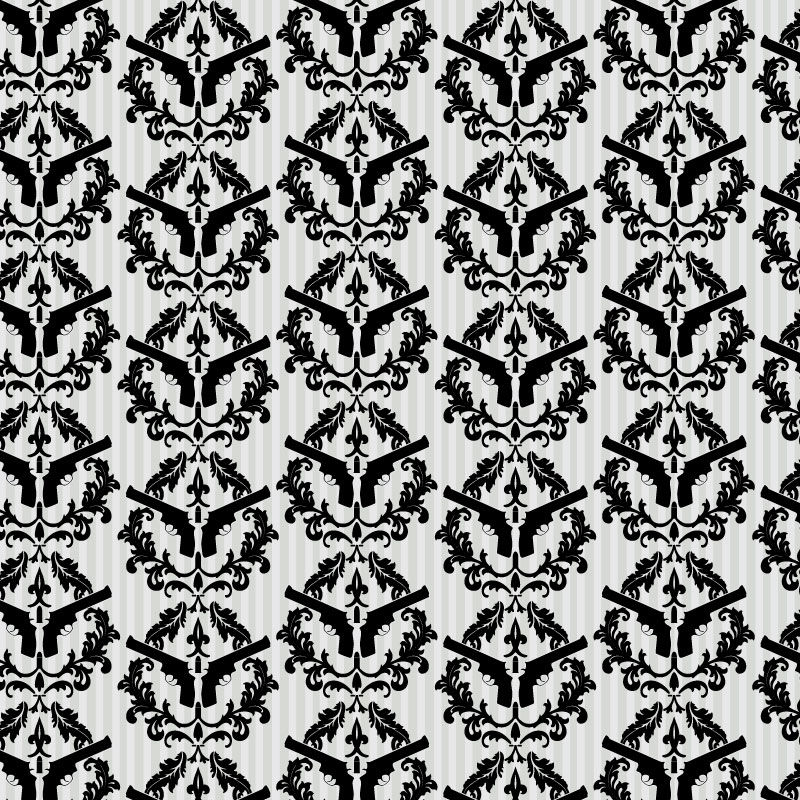 Thug Stripe   Black and White Gun Wall Paper [DIG 43922T] Designer 800x800