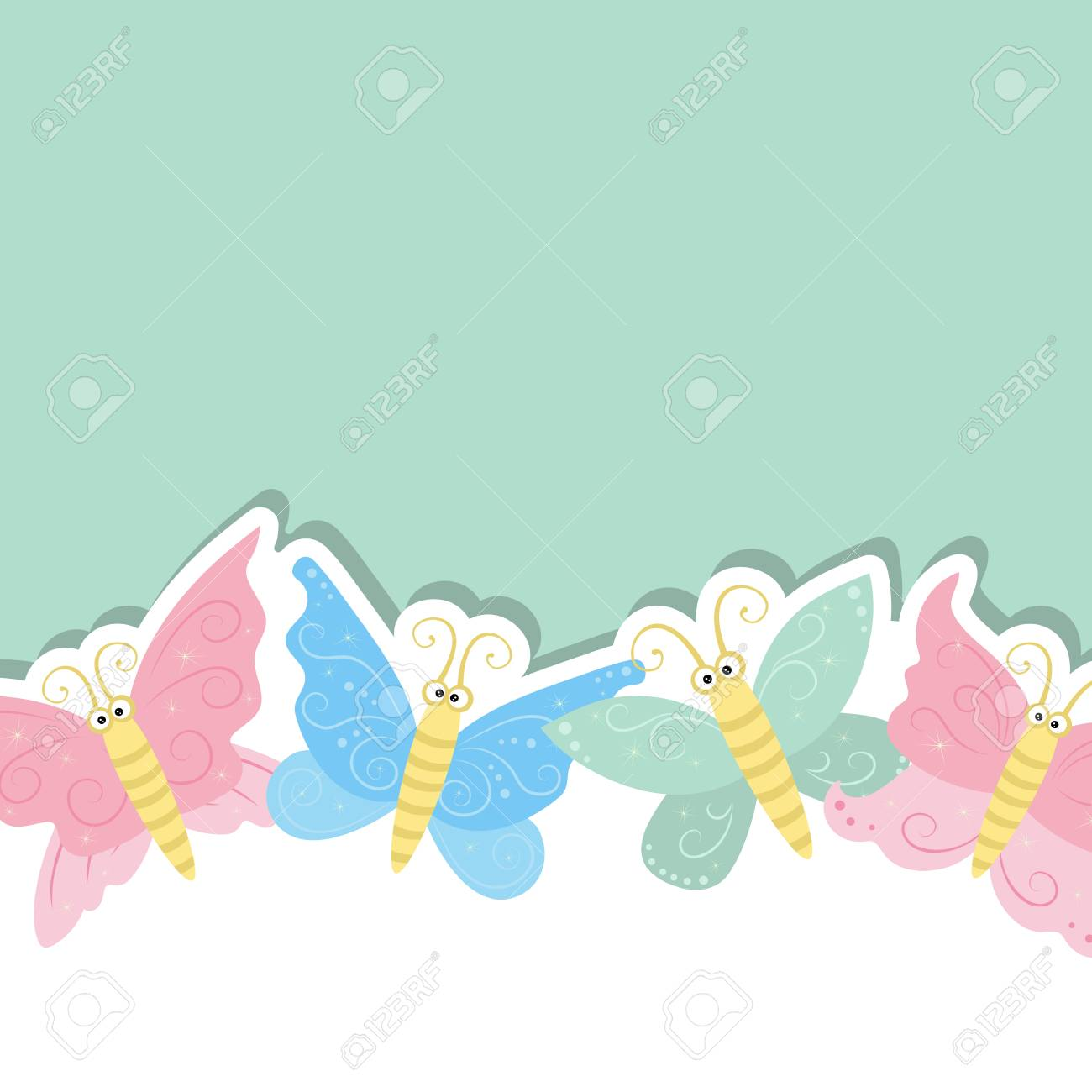 Greeting Card With Cute Butterflies Vector Background Royalty 1300x1300