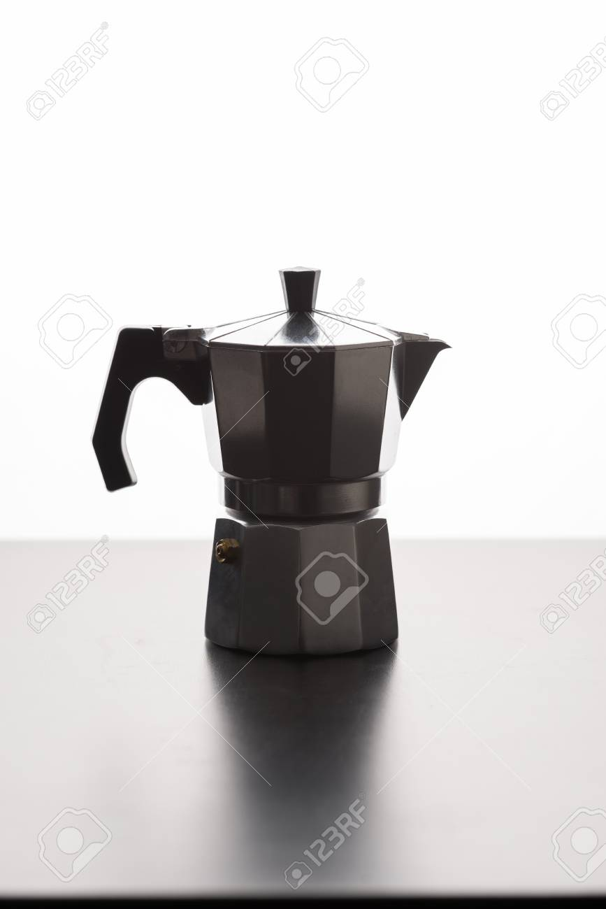 Italian Expresso Machine Over Wooden Background With Copy Space 867x1300