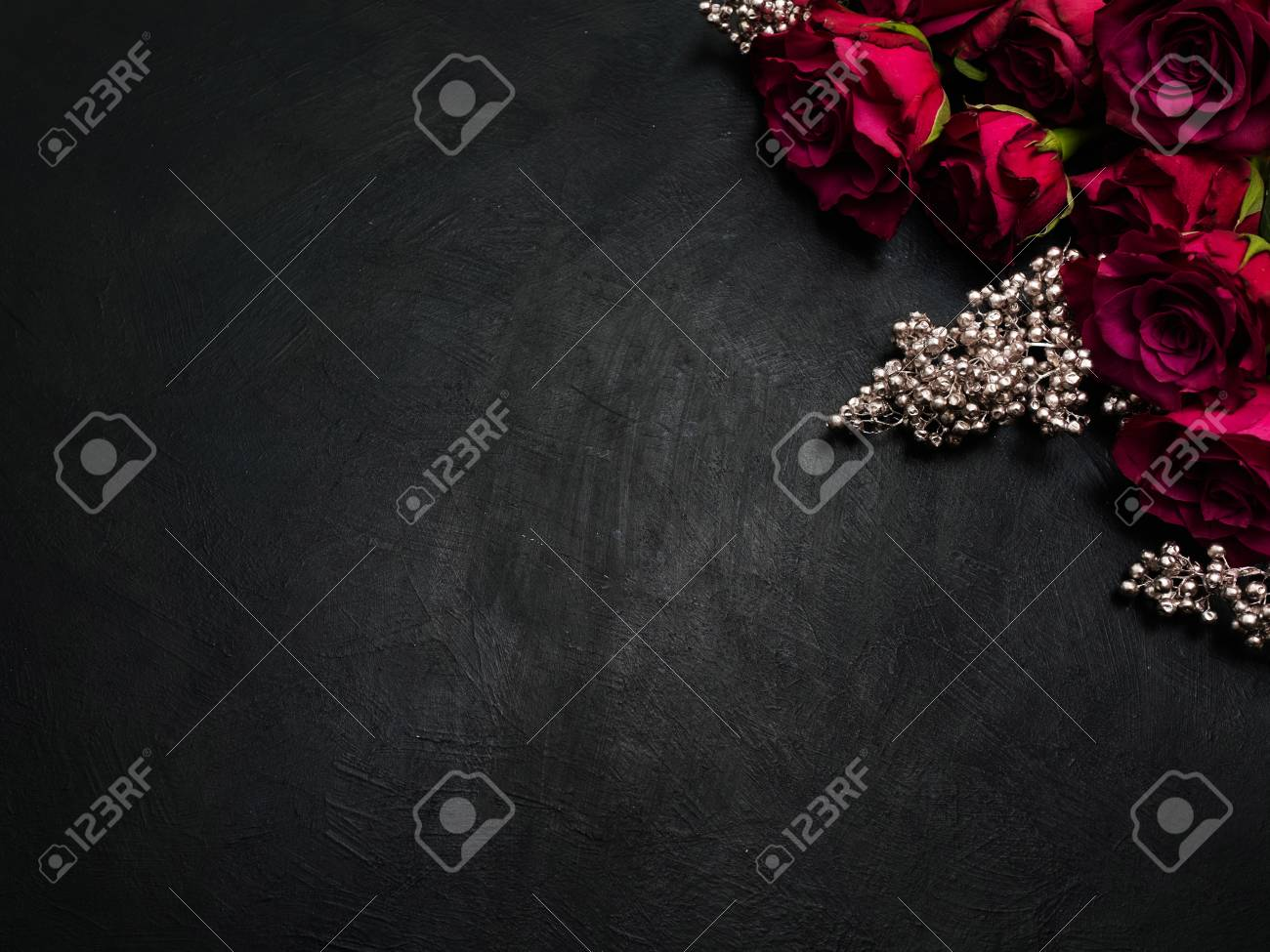 Burgundy Or Wine Red Roses And Silver Decor On Dark Background 1300x975