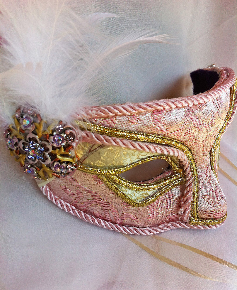 Pink And Gold Brocade Masquerade Mask by DaraGallery 809x988