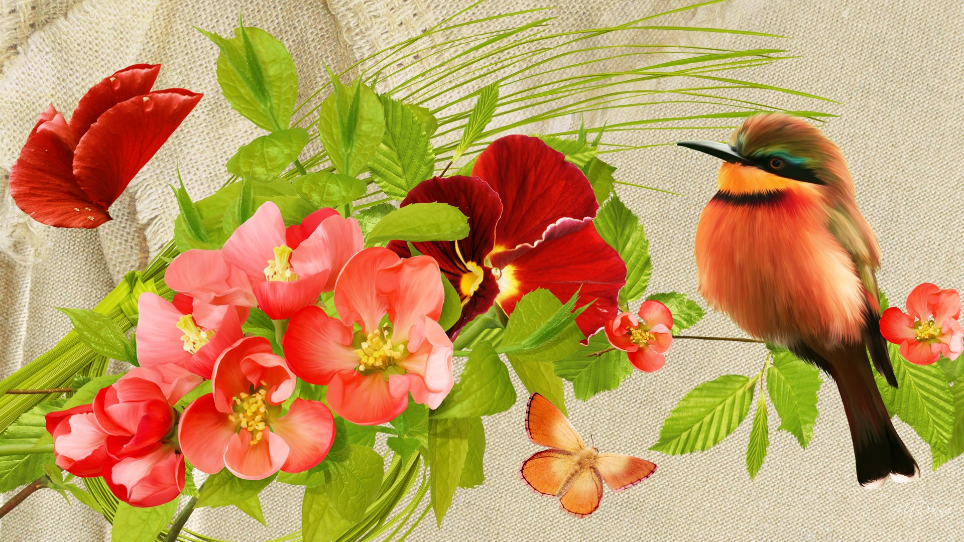 Pretty Birds Flowers wallpaper   ForWallpapercom 1920x1080