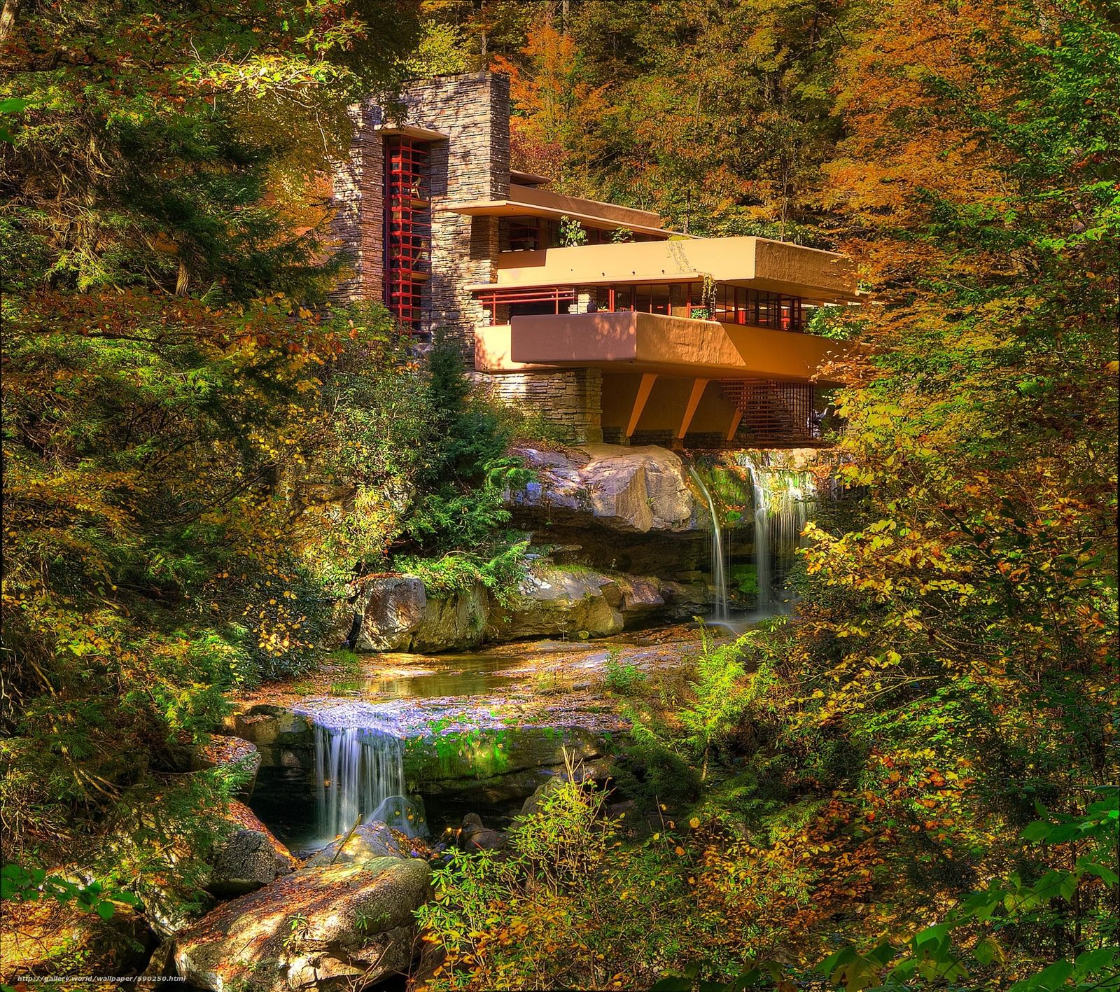 Download wallpaper Fallingwater Pennsylvania autumn waterfall 1600x1417