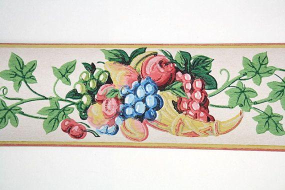 Full Vintage Wallpaper Border   TRIMZ   Fruit Cornucopia with Ivy Kit 570x380