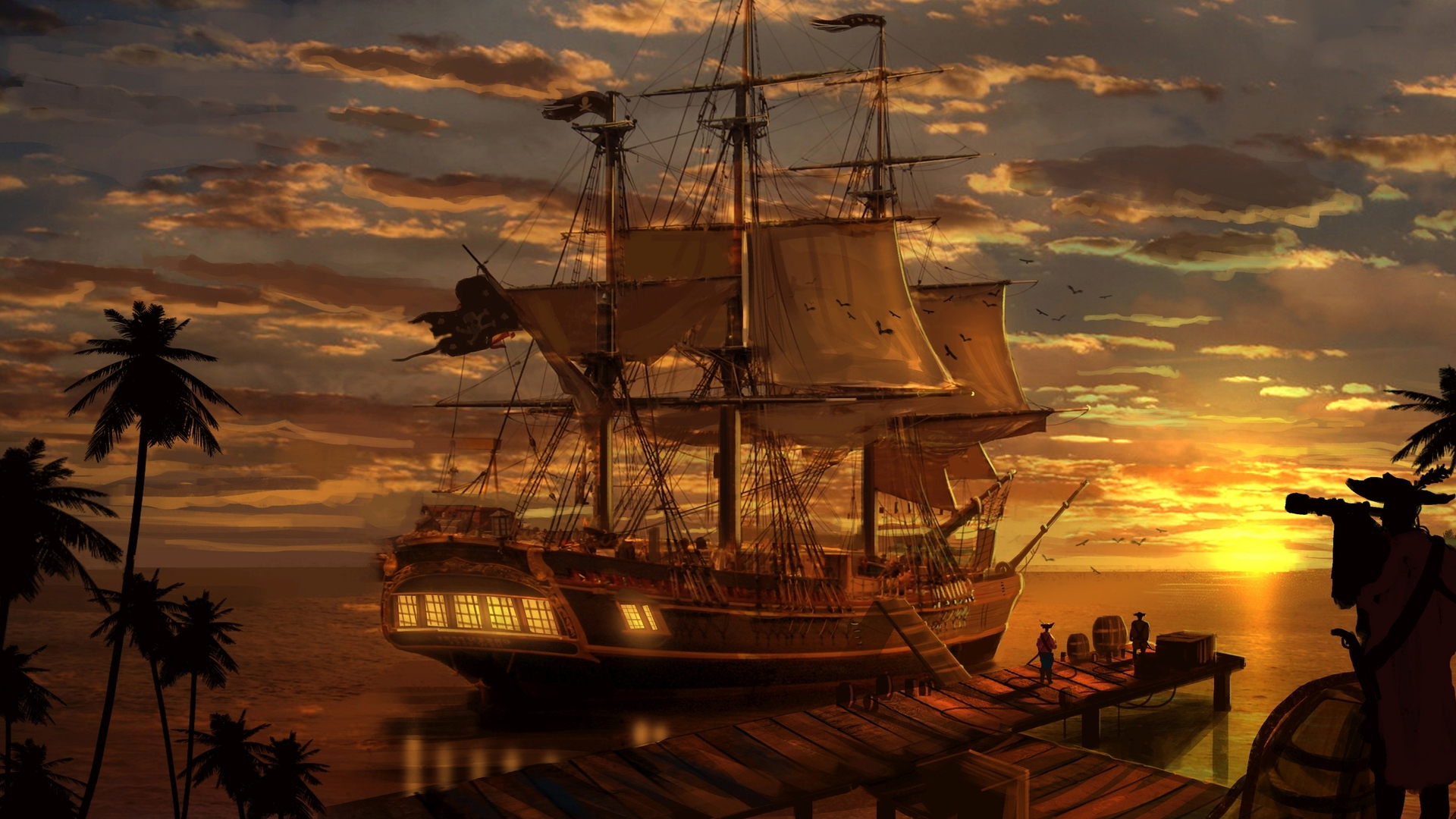 Pirate ship wallpaper 24699 1920x1080