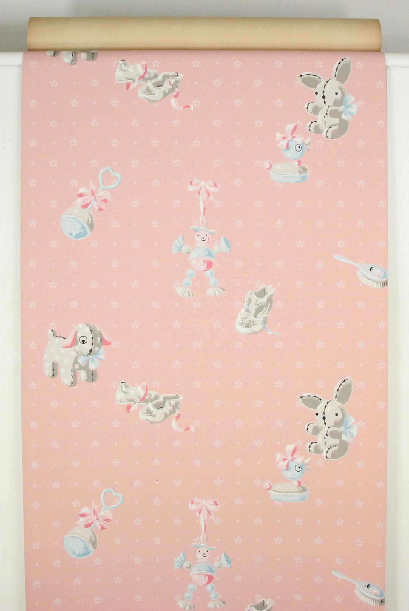 1940s Vintage Wallpaper Pink Nursery Baby Rattle   Rosies Vintage 1371x2048